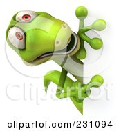 Royalty Free RF Clipart Illustration Of A 3d Green Lizard With A Blank Sign 4 by Julos