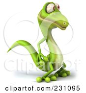 Royalty Free RF Clipart Illustration Of A 3d Green Lizard Facing Right by Julos