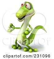 Royalty Free RF Clipart Illustration Of A 3d Green Lizard Gesturing 2 by Julos