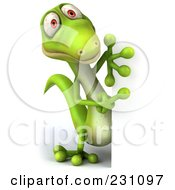 Royalty Free RF Clipart Illustration Of A 3d Green Lizard With A Blank Sign 3 by Julos