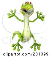 Royalty Free RF Clipart Illustration Of A 3d Green Lizard Jumping 1 by Julos
