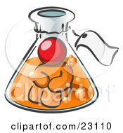 Red Man Trapped Inside A Bubbly Potion In A Laboratory Beaker With A Tag Around The Bottle