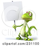 3d Green Lizard With A Blank Sign - 1