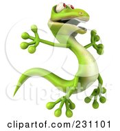 Royalty Free RF Clipart Illustration Of A 3d Green Lizard Jumping 2 by Julos