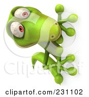 Royalty Free RF Clipart Illustration Of A 3d Green Lizard With A Blank Sign 5 by Julos