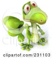 Royalty Free RF Clipart Illustration Of A 3d Green Lizard Holding A Thumb Down by Julos