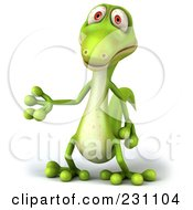 Royalty Free RF Clipart Illustration Of A 3d Green Lizard Gesturing 1 by Julos