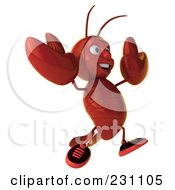 Royalty Free RF Clipart Illustration Of A 3d Lobster Facing Right And Jumping