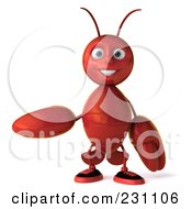 Royalty Free RF Clipart Illustration Of A 3d Lobster Facing Front And Gesturing