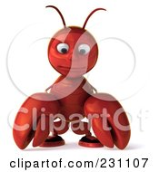 Royalty Free RF Clipart Illustration Of A 3d Lobster Facing Front And Pouting