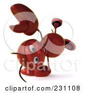 Royalty Free RF Clipart Illustration Of A 3d Lobster Doing A Cartwheel