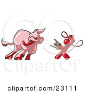 Clipart Illustration Of A Red Man Holding A Stool And Whip While Taming A Bull Bull Market