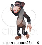 Royalty Free RF Clipart Illustration Of A 3d Chimp Character Walking And Talking On A Cell Phone