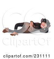 Royalty Free RF Clipart Illustration Of A 3d Chimp Character Wearing Shades And Reclining