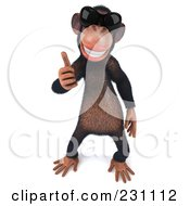 Royalty Free RF Clipart Illustration Of A 3d Chimp Character Wearing Shades And Holding A Thumb Up 2
