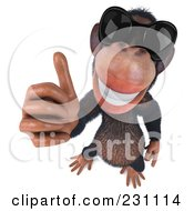 Royalty Free RF Clipart Illustration Of A 3d Chimp Character Wearing Shades And Holding A Thumb Up 1