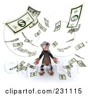 Royalty Free RF Clipart Illustration Of A 3d Chimp Character With Tons Of Money