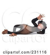 Royalty Free RF Clipart Illustration Of A 3d Chimp Character Wearing Shades Waving And Reclining