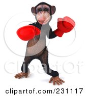 Royalty Free RF Clipart Illustration Of A 3d Chimp Character Punching