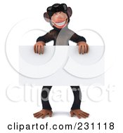 Royalty Free RF Clipart Illustration Of A 3d Chimp Character Wearing Shades And Holding A Blank Sign 2