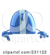 Royalty Free RF Clipart Illustration Of A 3d Blue Computer Mouse Character With A Blank Sign by Julos