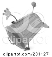 Royalty Free RF Clipart Illustration Of A 3d Trash Can Character Doing A Cartwheel