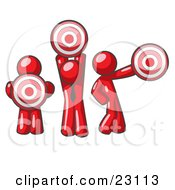 Clipart Illustration Of A Group Of Three Red Men Holding Red Targets In Different Positions by Leo Blanchette