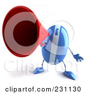 Royalty Free RF Clipart Illustration Of A 3d Blue Computer Mouse Character Announcing 1 by Julos