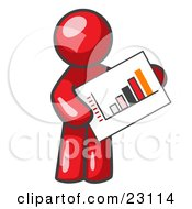 Clipart Illustration Of A Red Man Holding A Bar Graph Displaying An Increase In Profit by Leo Blanchette