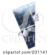 Royalty Free RF Clipart Illustration Of A 3d Solar Panel Character Pointing At A Blank Sign 2