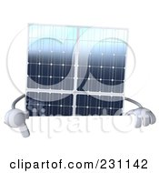 Royalty Free RF Clipart Illustration Of A 3d Solar Panel Character Pointing At A Blank Sign 1