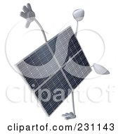 Royalty Free RF Clipart Illustration Of A 3d Solar Panel Character Doing A Hand Stand