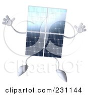 Royalty Free RF Clipart Illustration Of A 3d Solar Panel Character Jumping