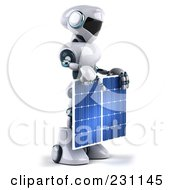Royalty Free RF Clipart Illustration Of A 3d Techno Robot Holding A Solar Panel 3