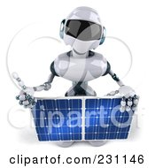 Royalty Free RF Clipart Illustration Of A 3d Techno Robot Holding A Solar Panel 2