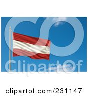 Royalty Free RF Clipart Illustration Of The Flag Of Austria Waving On A Pole Against A Blue Sky