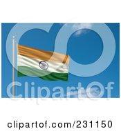 Flag Of India Waving On A Pole Against A Blue Sky