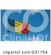 Royalty Free RF Clipart Illustration Of The Flag Of Romania Waving On A Pole Against A Blue Sky