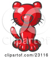 Clipart Illustration Of A Cute Red Kitty Cat Looking Curiously At The Viewer by Leo Blanchette