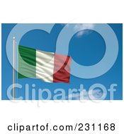 Royalty Free RF Clipart Illustration Of The Flag Of Italy Waving On A Pole Against A Blue Sky