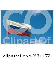 Royalty Free RF Clipart Illustration Of The Flag Of Russia Waving On A Pole Against A Blue Sky by stockillustrations