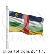 Royalty Free RF Clipart Illustration Of The Flag Of Central Africa Waving On A Pole