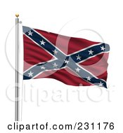 Royalty Free RF Clipart Illustration Of The Confederate Flag Waving On A Pole