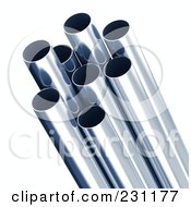 Royalty Free RF Clipart Illustration Of 3d Blue Tinted Metal Pipes 1