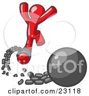 Clipart Illustration Of A Red Man Jumping For Joy While Breaking Away From A Ball And Chain Symbolizing Freedom From Debt Or Divorce by Leo Blanchette