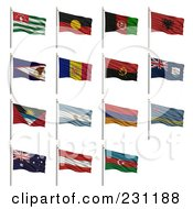 Royalty Free RF Clipart Illustration Of A Digital Collage Of 3d Waving National Flags Starting With The Letter A Abkhazia Aborigine Afghanistan Albania American Samoa Andorra Angola Anguilla Antigua And Barbuda Argentina Armenia Aruba Austra