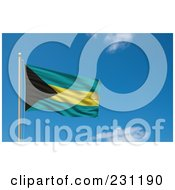 Royalty Free RF Clipart Illustration Of The Flag Of Bahamas Waving On A Pole Against A Blue Sky
