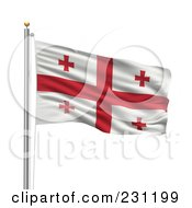 Royalty Free RF Clipart Illustration Of The Flag Of Georgia Waving On A Pole