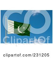 Royalty Free RF Clipart Illustration Of The Flag Of Pakistan Waving On A Pole Against A Blue Sky