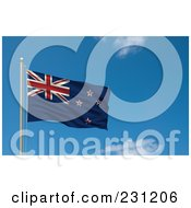 Royalty Free RF Clipart Illustration Of The Flag Of New Zealand Waving On A Pole Against A Blue Sky